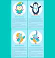 Merry christmas penguin bird singer cartoon poster