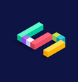 number 5 isometric colorful cubes 3d design vector image
