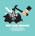Piggy Bank Breaking By Hammer vector image