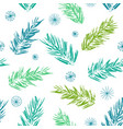 pine tree twigs and snowflakes christmas pattern vector image vector image
