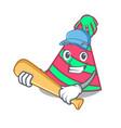 playing baseball party hat character cartoon