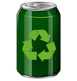 Recycle symbol on green can vector image vector image