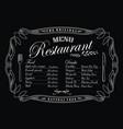 restaurant menu blackboard vintage frame antique vector image vector image