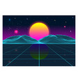retro futurism old vhs style landscape 1980s vector image vector image