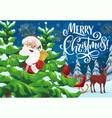 santa with christmas bell sleigh and xmas gifts vector image vector image