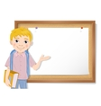 Schoolboy and cork board with paper vector image