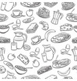 seamless pattern hand drawn breakfast vector image