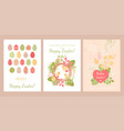 set cards for easter with cute chickens and eggs vector image