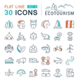 Set Flat Line Icons Ecotourism vector image vector image