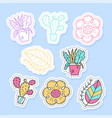 set flora plant stickers pins patches and vector image