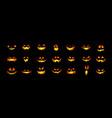 set halloween scary pumpkins cut spooky creepy vector image vector image