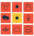 set of 9 harmony icons includes raindrop sprout
