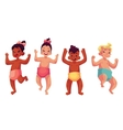 Set of cute little babies boys and girls dancing vector image