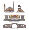 set of isolated albania famous old architecture vector image vector image
