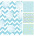 set of sea and nautical seamless patterns in vector image