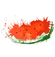 slice of watercolor watermelon with splas vector image