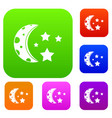 starry night set color collection vector image vector image