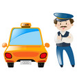 taxi driver stand by the taxi vector image