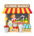 the young woman sells flowers in flower market vector image