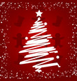 white christmas tree on red background happy new vector image