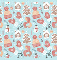 winter fun seamless pattern traditional vector image