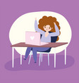 working remotely young woman with laptop work in vector image