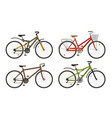 bike bicycle set icons cycling transport vector image
