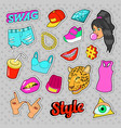 swag fashion elements with hands lips vector image