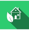 Eco House icon with long shadow vector image