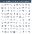 100 modern icons vector image vector image