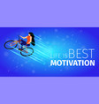 athlete woman doing extreme bike trick activity vector image