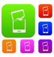 broken phone set color collection vector image vector image