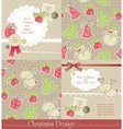 christmas vintage set vector image vector image