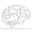 continuous line drawing brain design vector image vector image