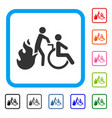 fire patient evacuation framed icon vector image vector image