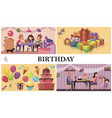 flat birthday party concept vector image vector image