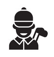 golf player with clubs outline icon vector image