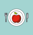 health food apple plate fork knife vector image