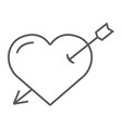 heart pierced with arrow thin line icon love and vector image vector image