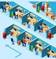 isometric cubicle office plan coworking vector image vector image