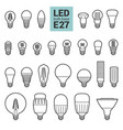 led light e27 bulbs outline icon set vector image vector image