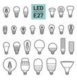 led light e27 bulbs outline icon set vector image vector image