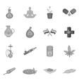Medical marijuana icons set black monochrome style vector image vector image
