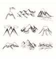 Mountain top icons vector image vector image