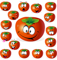 persimmon fruit cartoon with many expressions vector image vector image