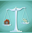 scales for weighing with a house and percent sign vector image vector image