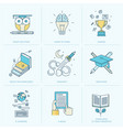 set flat line icons for education vector image
