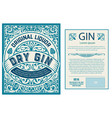 set full vintage gin labels layered vector image vector image