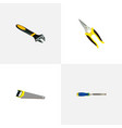set of tools realistic symbols with saw carpenter vector image