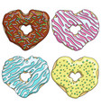 set tasty donuts in the form of a heart vector image vector image